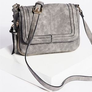 Free People Grey Vegan Crossbody Bag